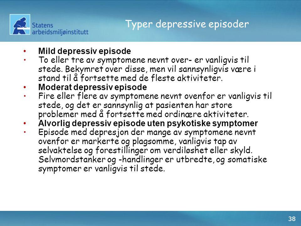 Typer depressive episoder