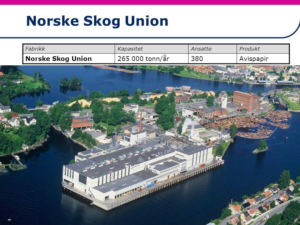 Norske Skog Union Norske Skog Union 265 000 tonn/år 380 Avispapir