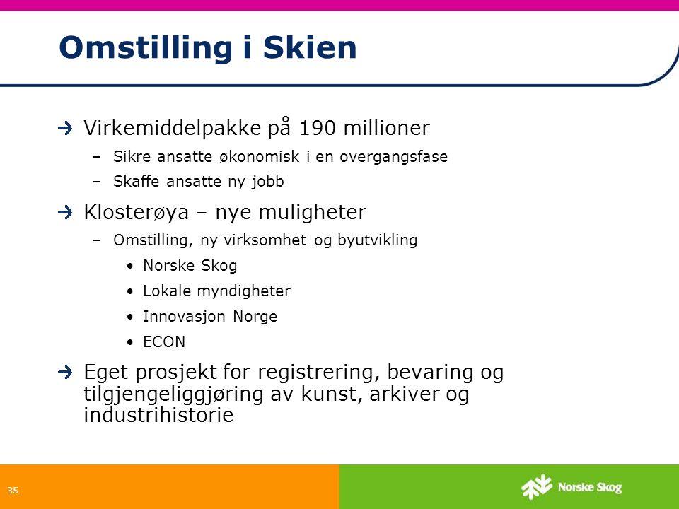 Omstilling i Skien Virkemiddelpakke på 190 millioner