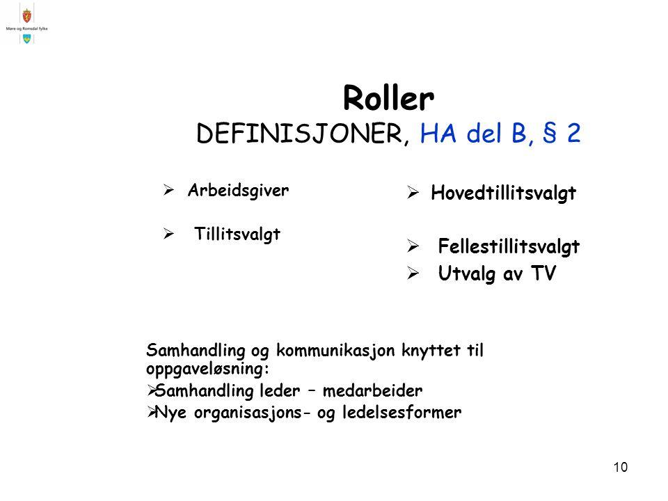 Roller DEFINISJONER, HA del B, § 2