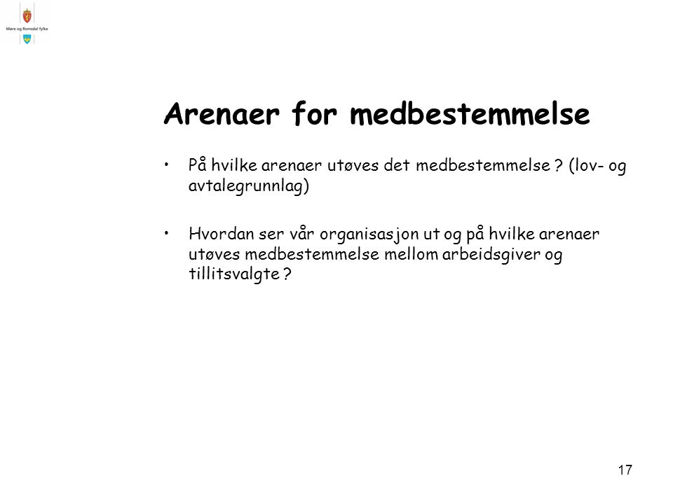 Arenaer for medbestemmelse