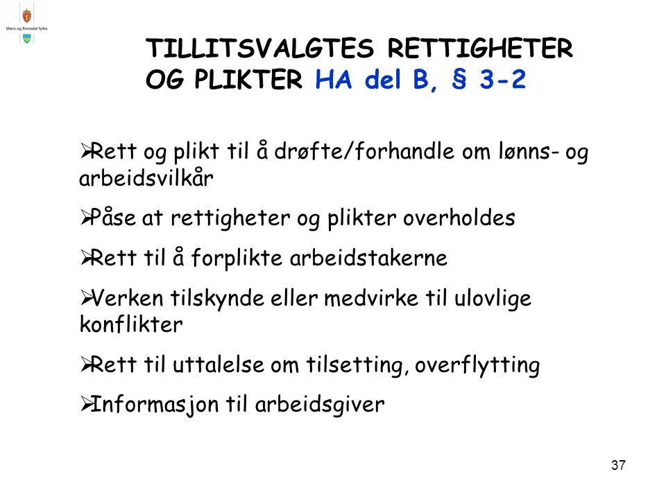 TILLITSVALGTES RETTIGHETER OG PLIKTER HA del B, § 3-2