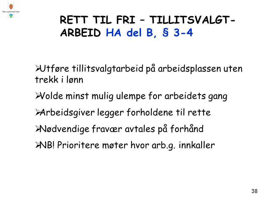 RETT TIL FRI – TILLITSVALGT-ARBEID HA del B, § 3-4