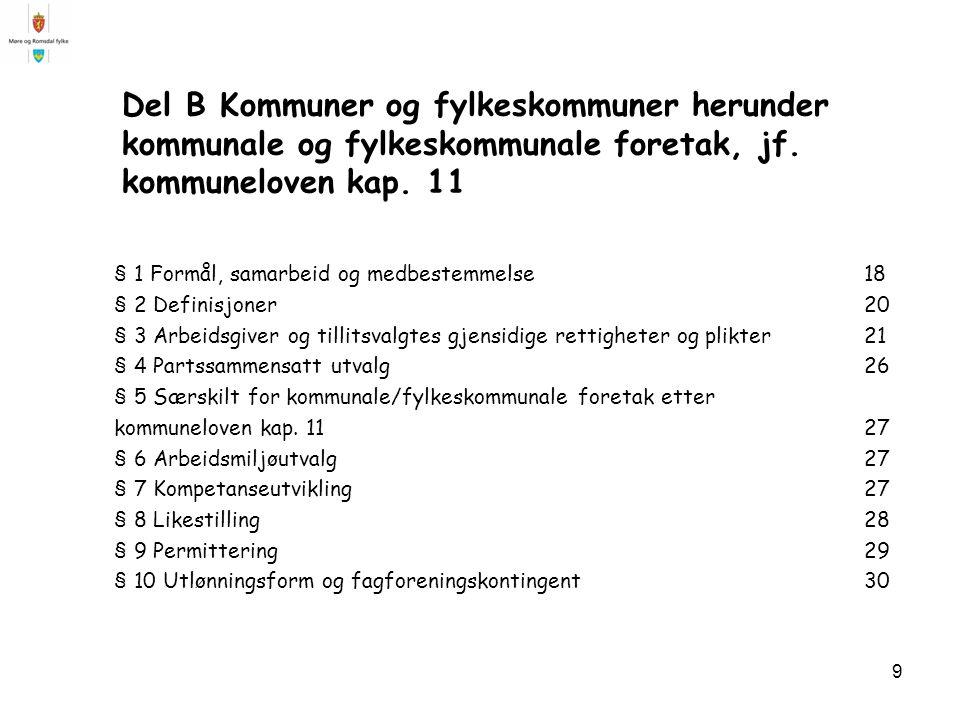 Del B Kommuner og fylkeskommuner herunder kommunale og fylkeskommunale foretak, jf. kommuneloven kap. 11