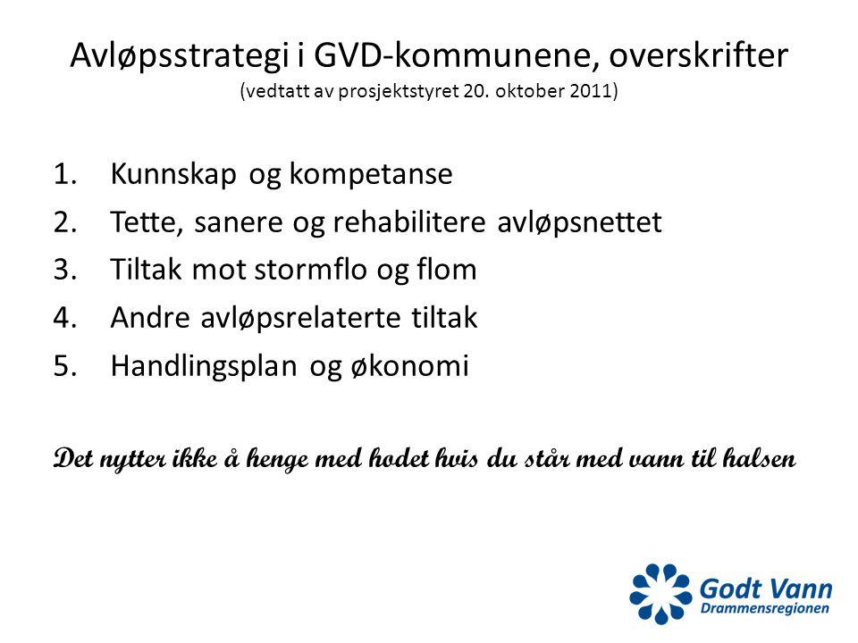 Avløpsstrategi i GVD-kommunene, overskrifter (vedtatt av prosjektstyret 20. oktober 2011)