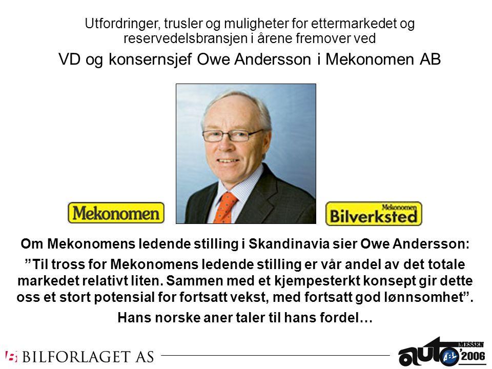 VD og konsernsjef Owe Andersson i Mekonomen AB