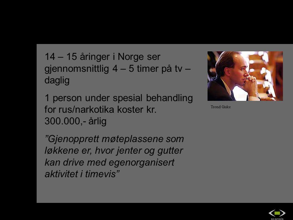 14 – 15 åringer i Norge ser gjennomsnittlig 4 – 5 timer på tv – daglig