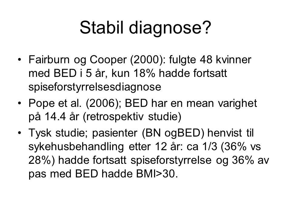 Stabil diagnose Fairburn og Cooper (2000): fulgte 48 kvinner med BED i 5 år, kun 18% hadde fortsatt spiseforstyrrelsesdiagnose.
