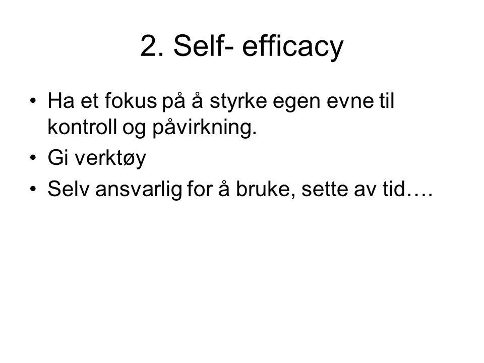 2. Self- efficacy Ha et fokus på å styrke egen evne til kontroll og påvirkning.