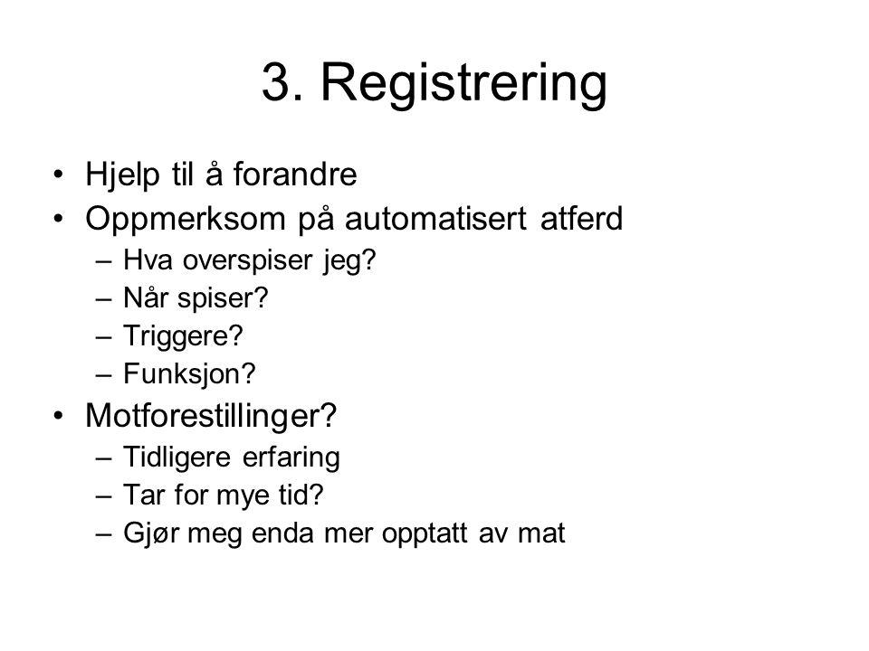3. Registrering Hjelp til å forandre Oppmerksom på automatisert atferd