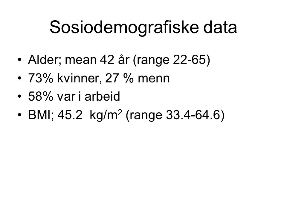 Sosiodemografiske data