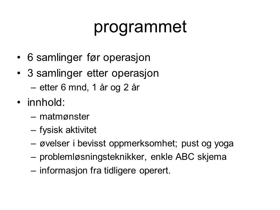 programmet 6 samlinger før operasjon 3 samlinger etter operasjon