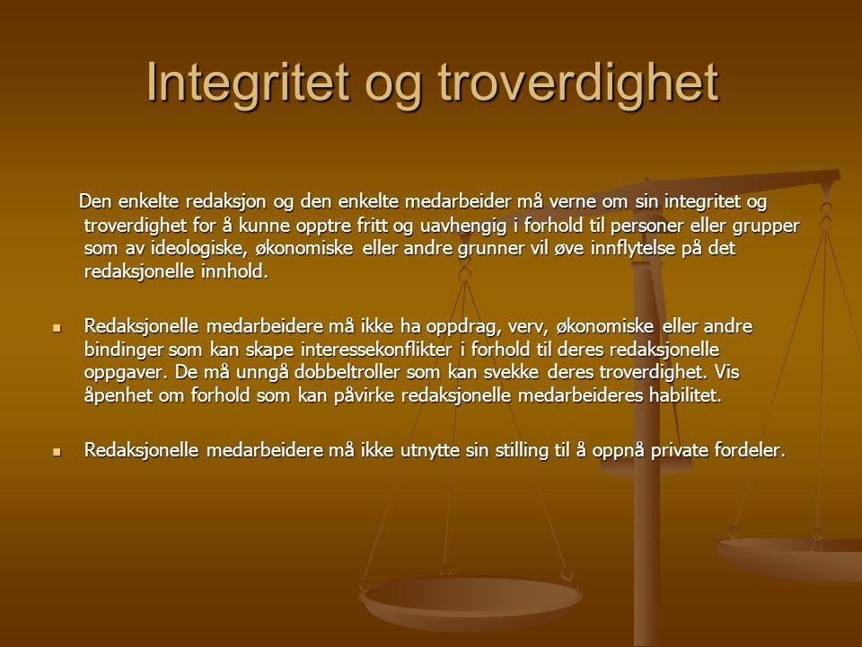 Integritet og troverdighet