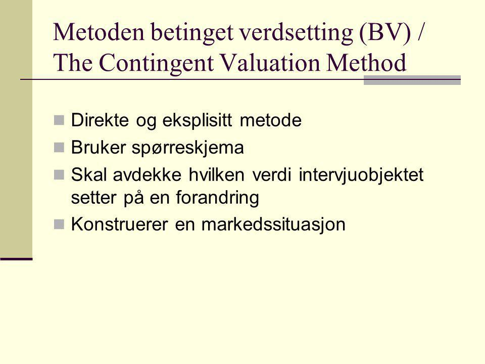 Metoden betinget verdsetting (BV) / The Contingent Valuation Method