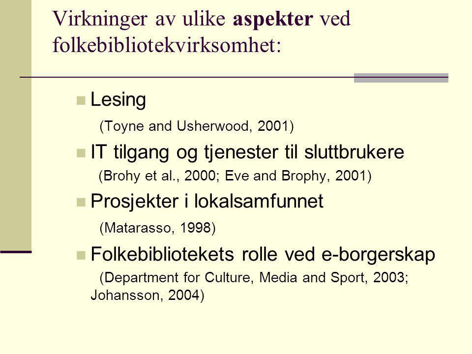 Virkninger av ulike aspekter ved folkebibliotekvirksomhet:
