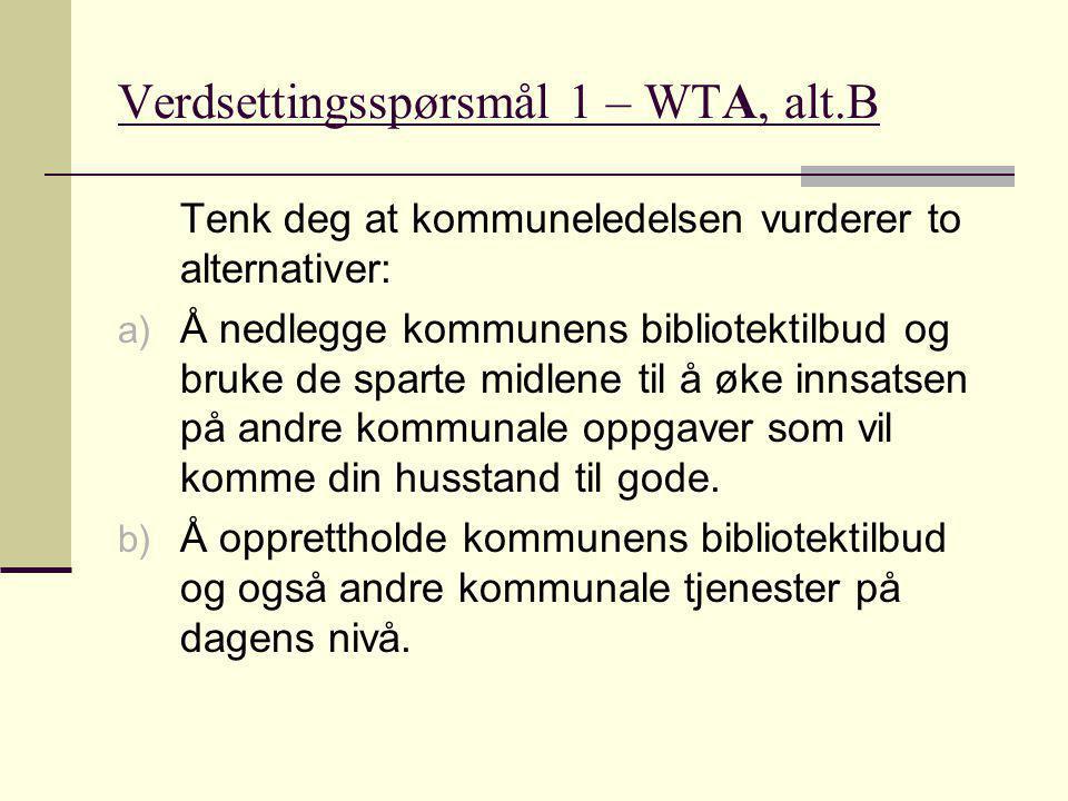Verdsettingsspørsmål 1 – WTA, alt.B