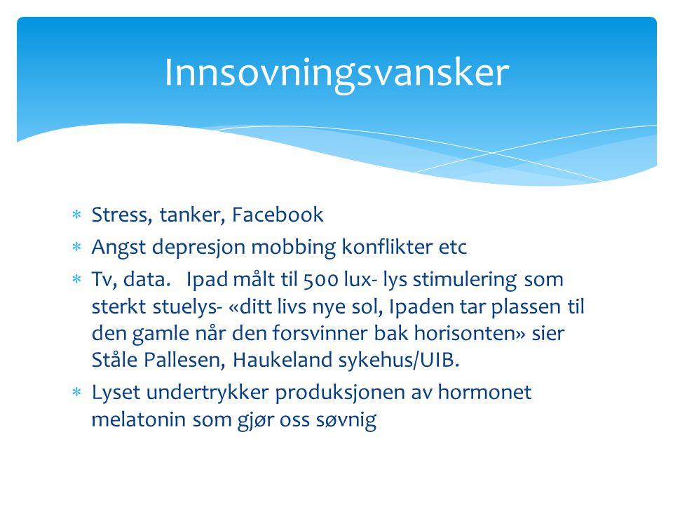 Innsovningsvansker Stress, tanker, Facebook