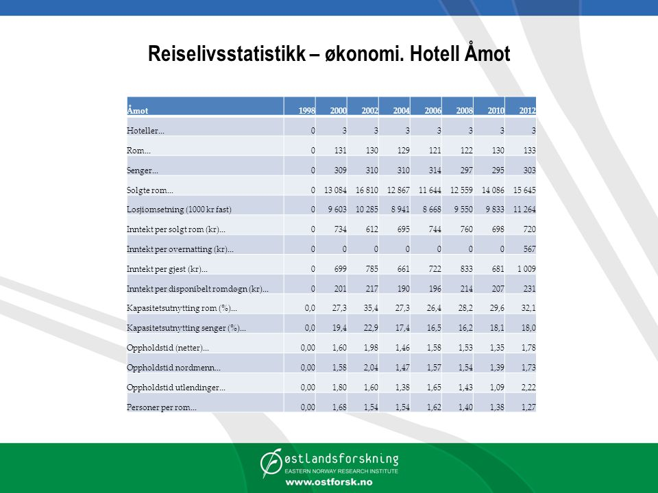 Reiselivsstatistikk – økonomi. Hotell Åmot