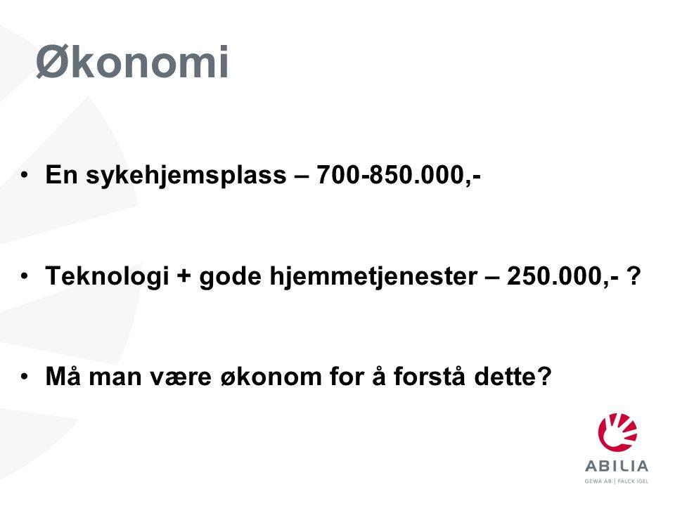 Økonomi En sykehjemsplass – 700-850.000,-