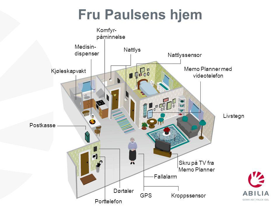 Fru Paulsens hjem Komfyr- påminnelse Medisin- dispenser Nattlys