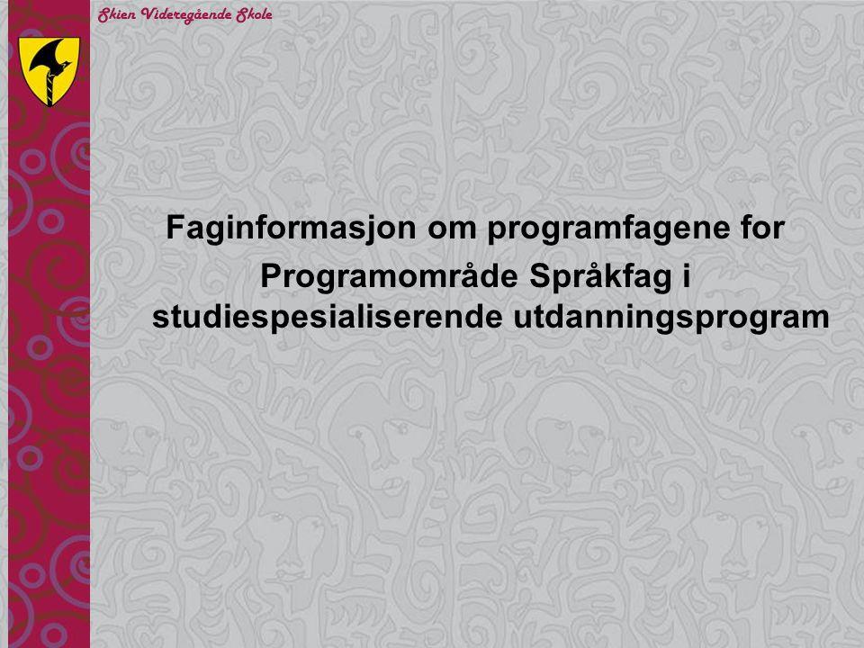 Faginformasjon om programfagene for
