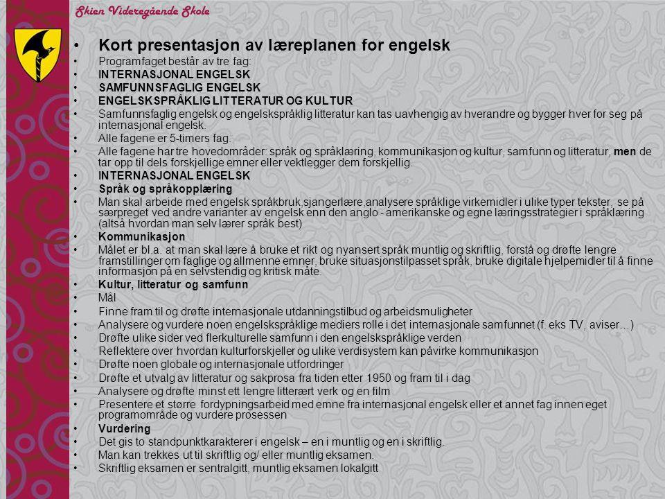 Kort presentasjon av læreplanen for engelsk