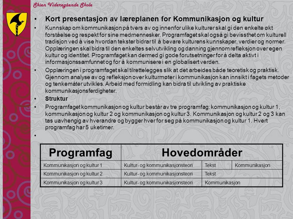 Programfag Hovedområder