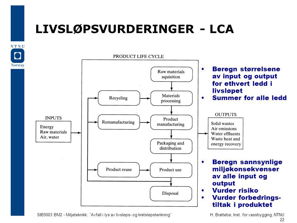 LIVSLØPSVURDERINGER - LCA