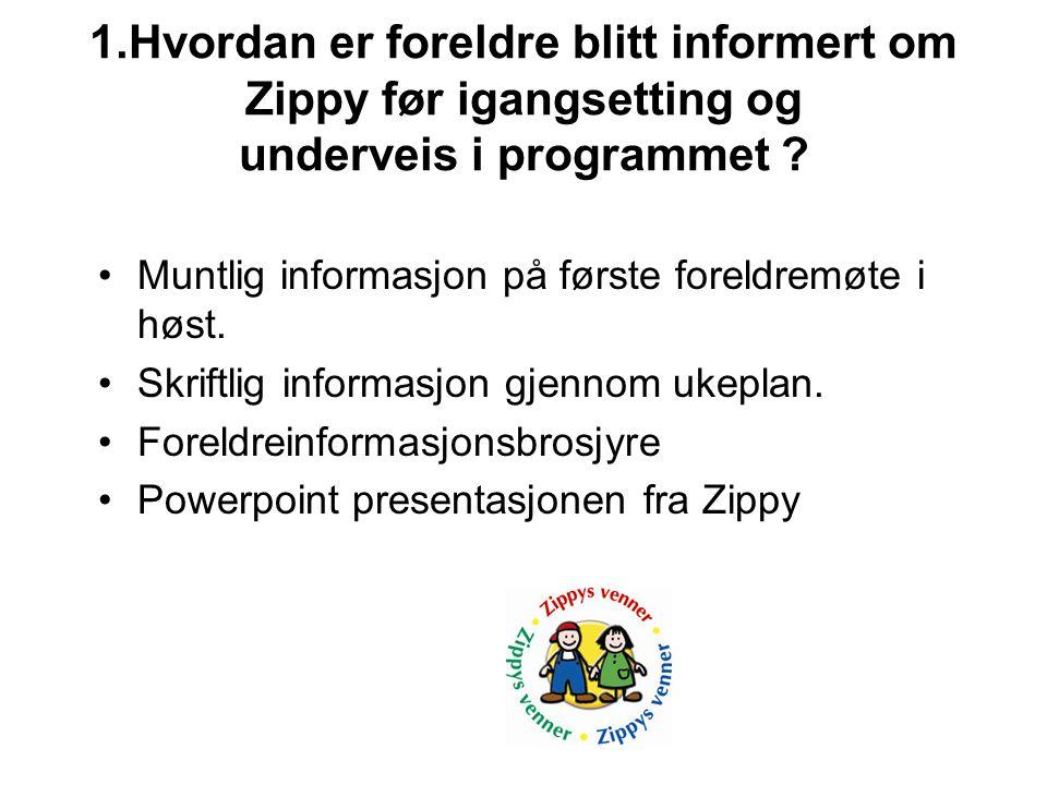 1.Hvordan er foreldre blitt informert om Zippy før igangsetting og underveis i programmet