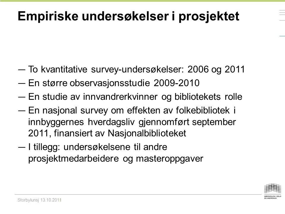 Empiriske undersøkelser i prosjektet