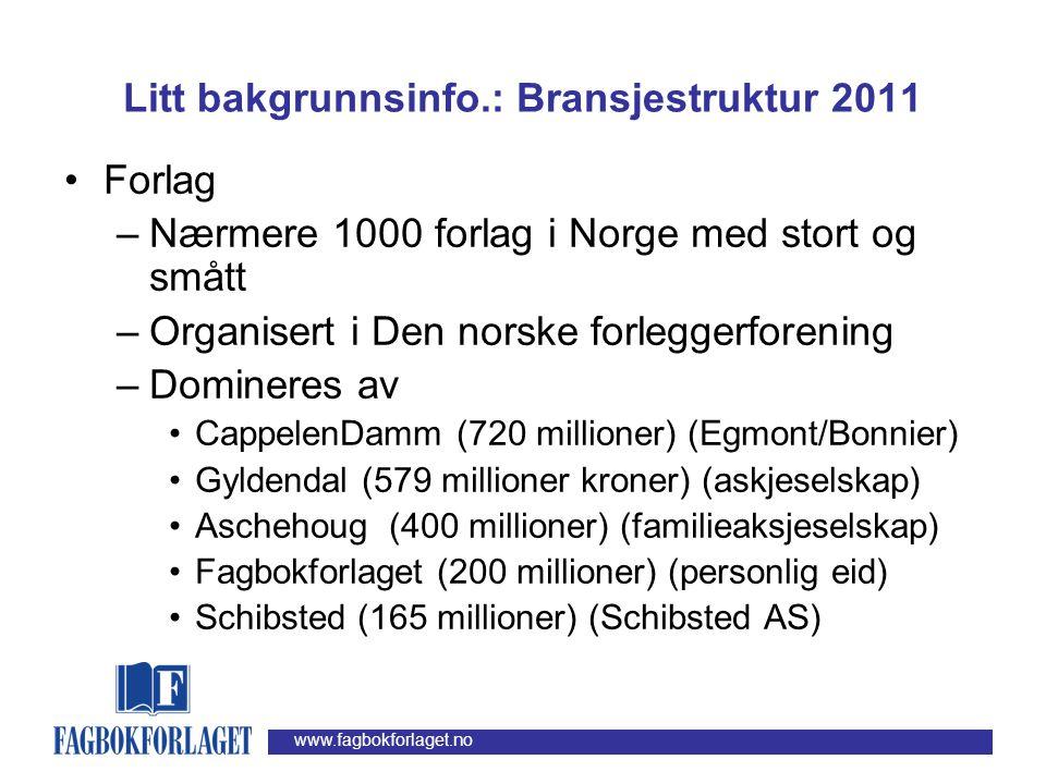 Litt bakgrunnsinfo.: Bransjestruktur 2011
