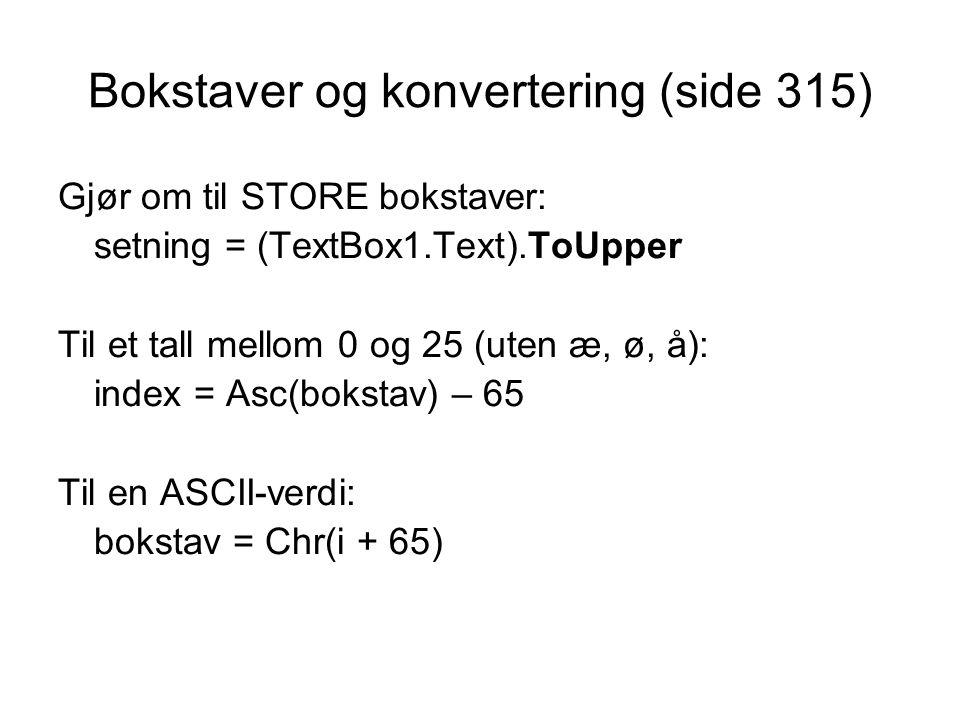 Bokstaver og konvertering (side 315)