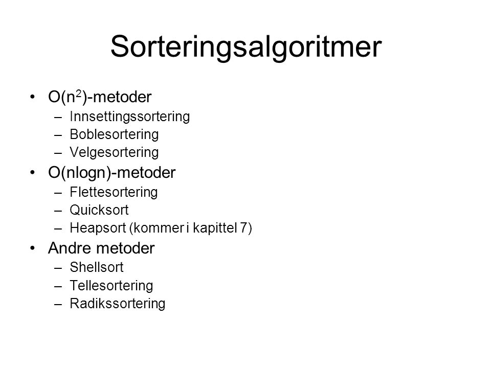 Sorteringsalgoritmer