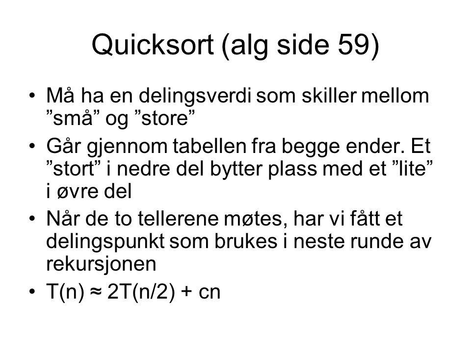 Quicksort (alg side 59) Må ha en delingsverdi som skiller mellom små og store
