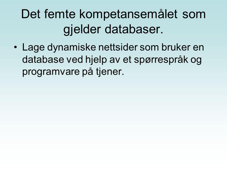 Det femte kompetansemålet som gjelder databaser.