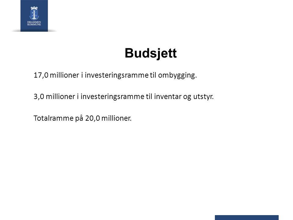 Budsjett 17,0 millioner i investeringsramme til ombygging.