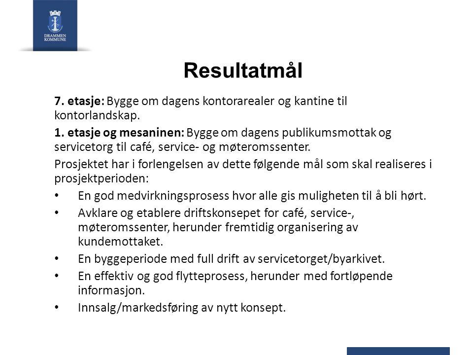 Resultatmål 7. etasje: Bygge om dagens kontorarealer og kantine til kontorlandskap.