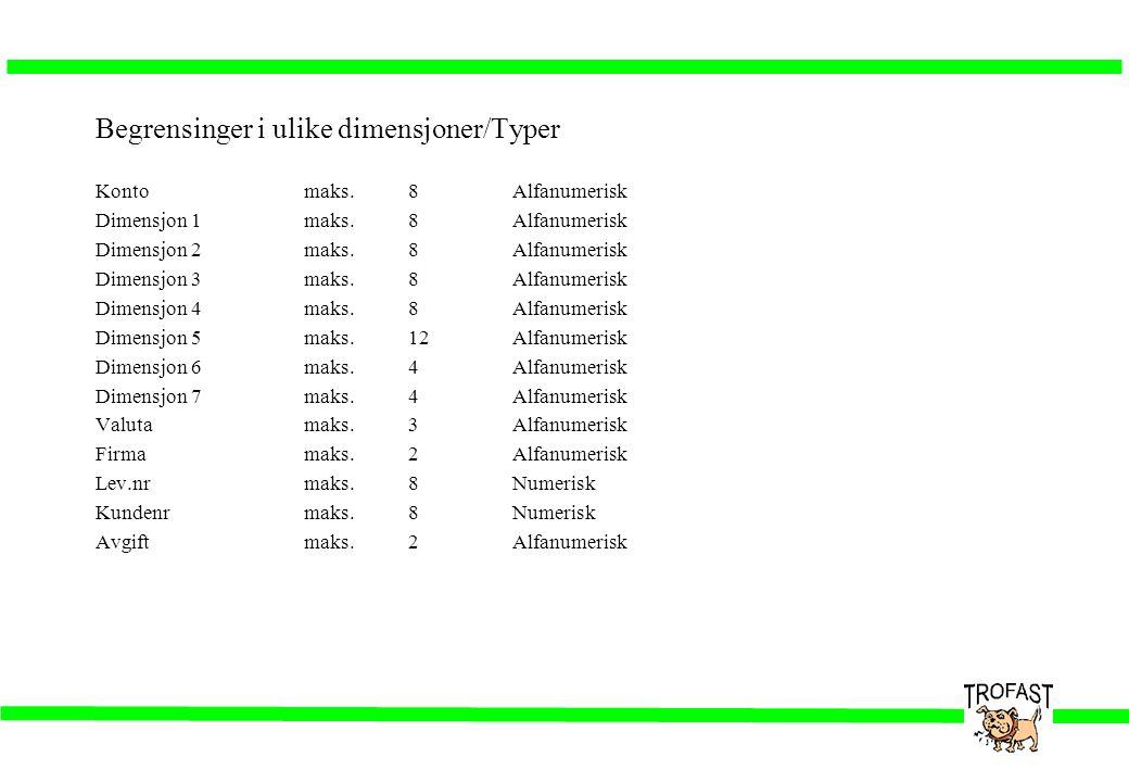Begrensinger i ulike dimensjoner/Typer