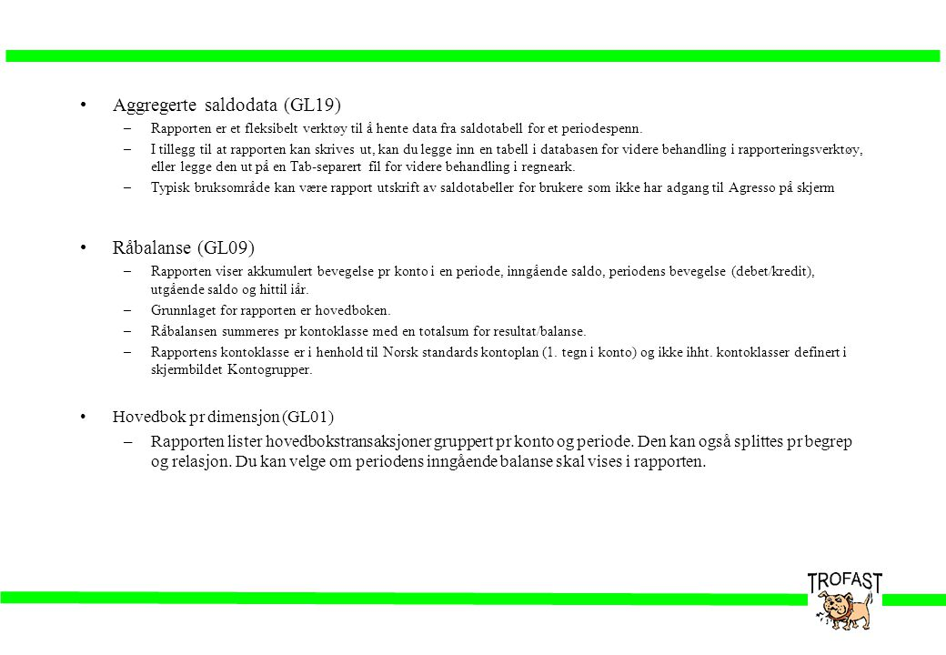 Aggregerte saldodata (GL19)