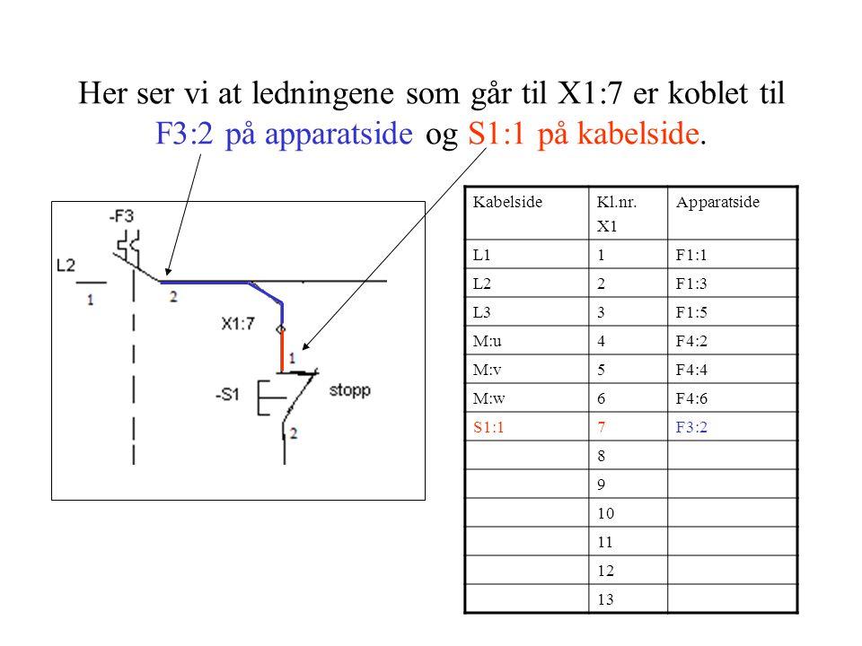 Her ser vi at ledningene som går til X1:7 er koblet til F3:2 på apparatside og S1:1 på kabelside.