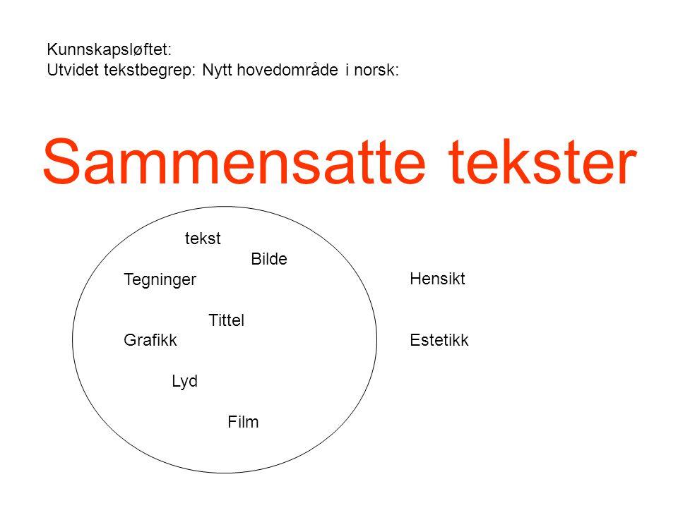 Kunnskapsløftet: Utvidet tekstbegrep: Nytt hovedområde i norsk: