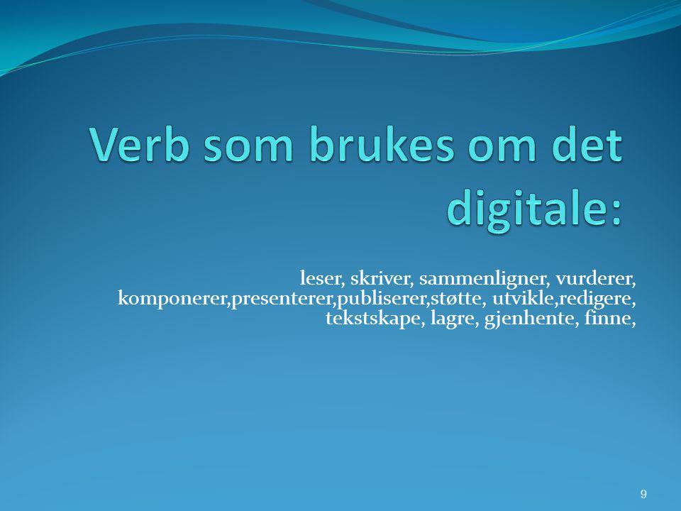 Verb som brukes om det digitale: