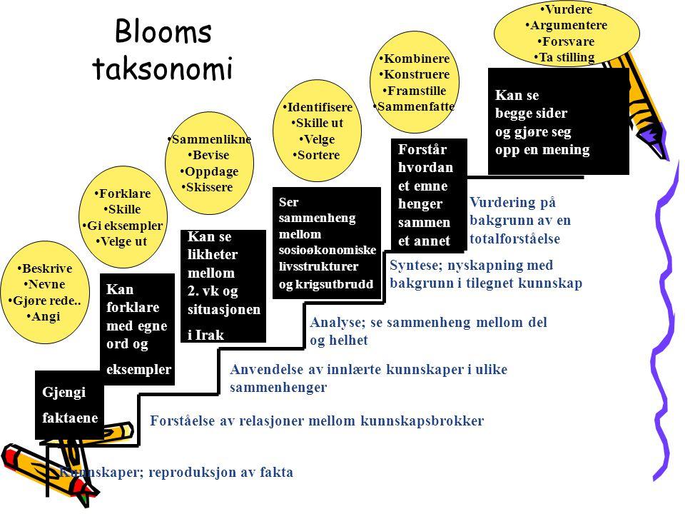 Blooms taksonomi Kan se begge sider og gjøre seg opp en mening Forstår