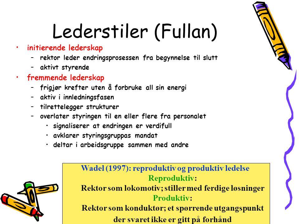 Lederstiler (Fullan) Wadel (1997): reproduktiv og produktiv ledelse