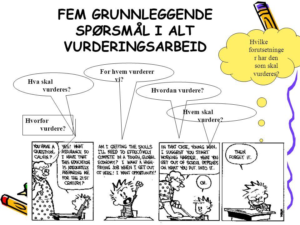 FEM GRUNNLEGGENDE SPØRSMÅL I ALT VURDERINGSARBEID