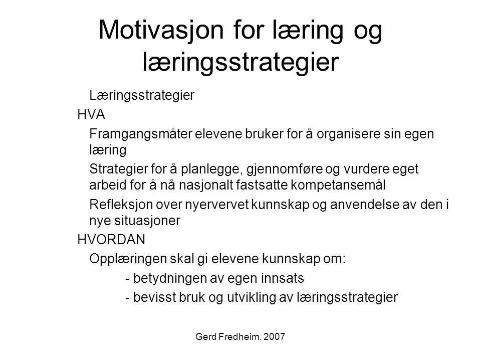 Motivasjon for læring og læringsstrategier