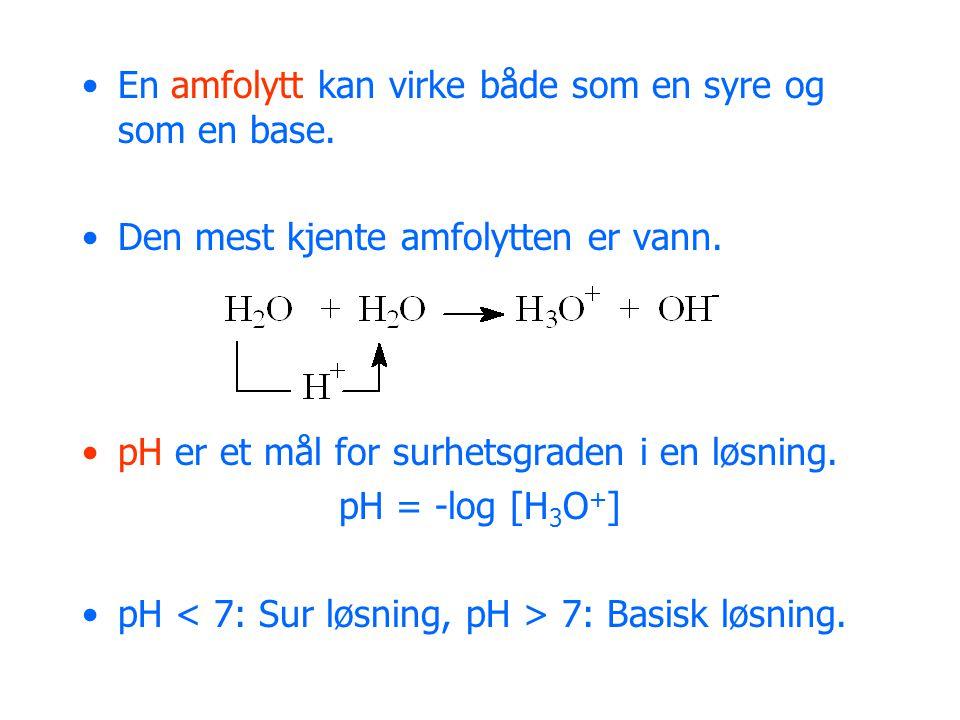 En amfolytt kan virke både som en syre og som en base.