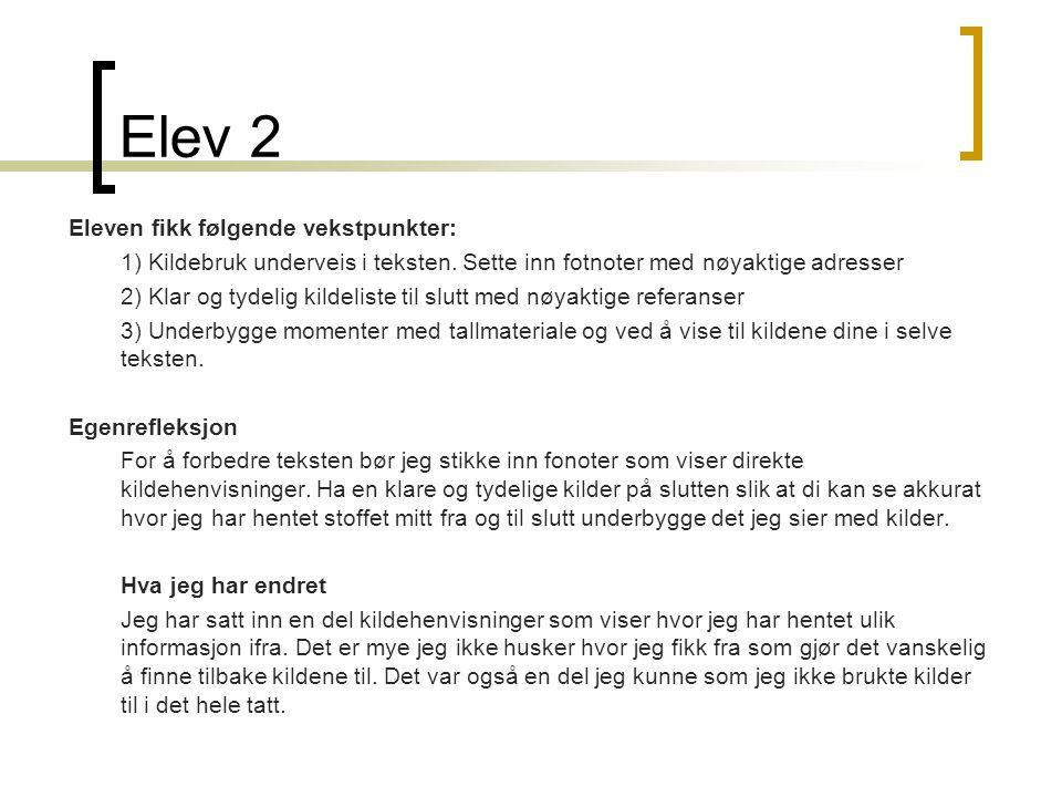 Elev 2 Eleven fikk følgende vekstpunkter: