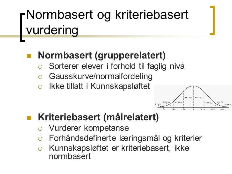 Normbasert og kriteriebasert vurdering