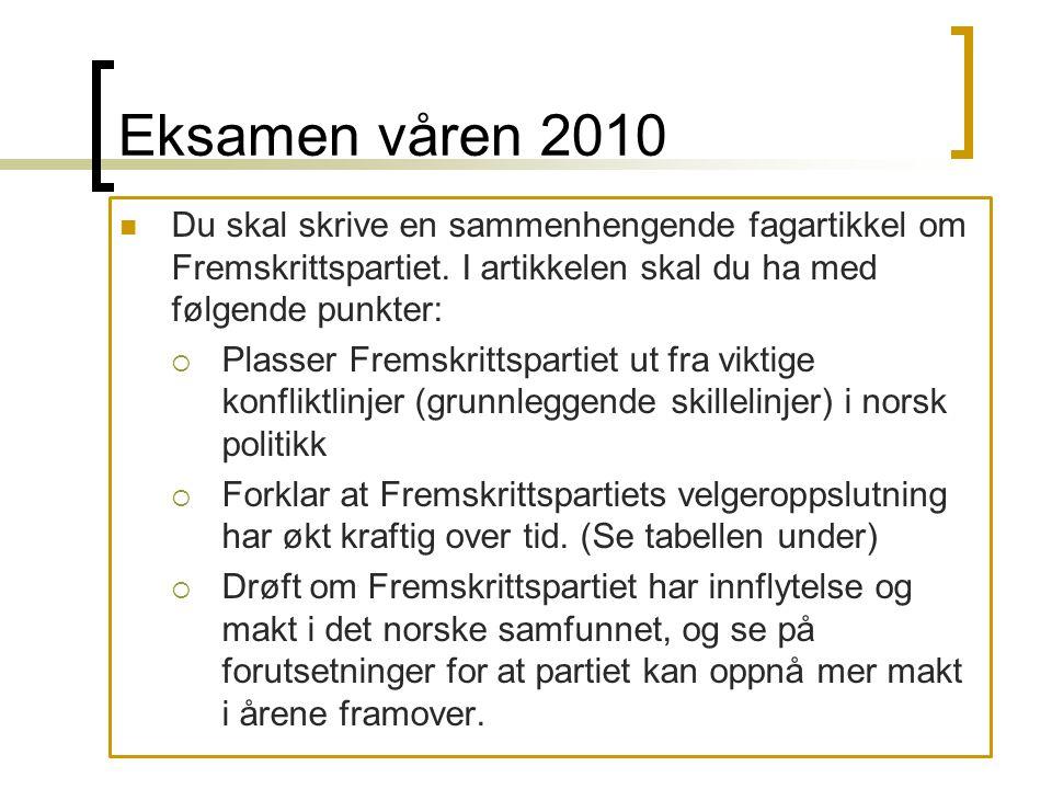 Eksamen våren 2010 Du skal skrive en sammenhengende fagartikkel om Fremskrittspartiet. I artikkelen skal du ha med følgende punkter: